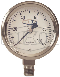 GSS60 Dixon 0-60psi Stainless Steel Dry Pressure Gauge w/ - 1/4