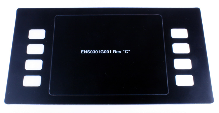 ENS0301G001 Gilbarco Encore 500S Softkey Graphic Overlay. - White on Black