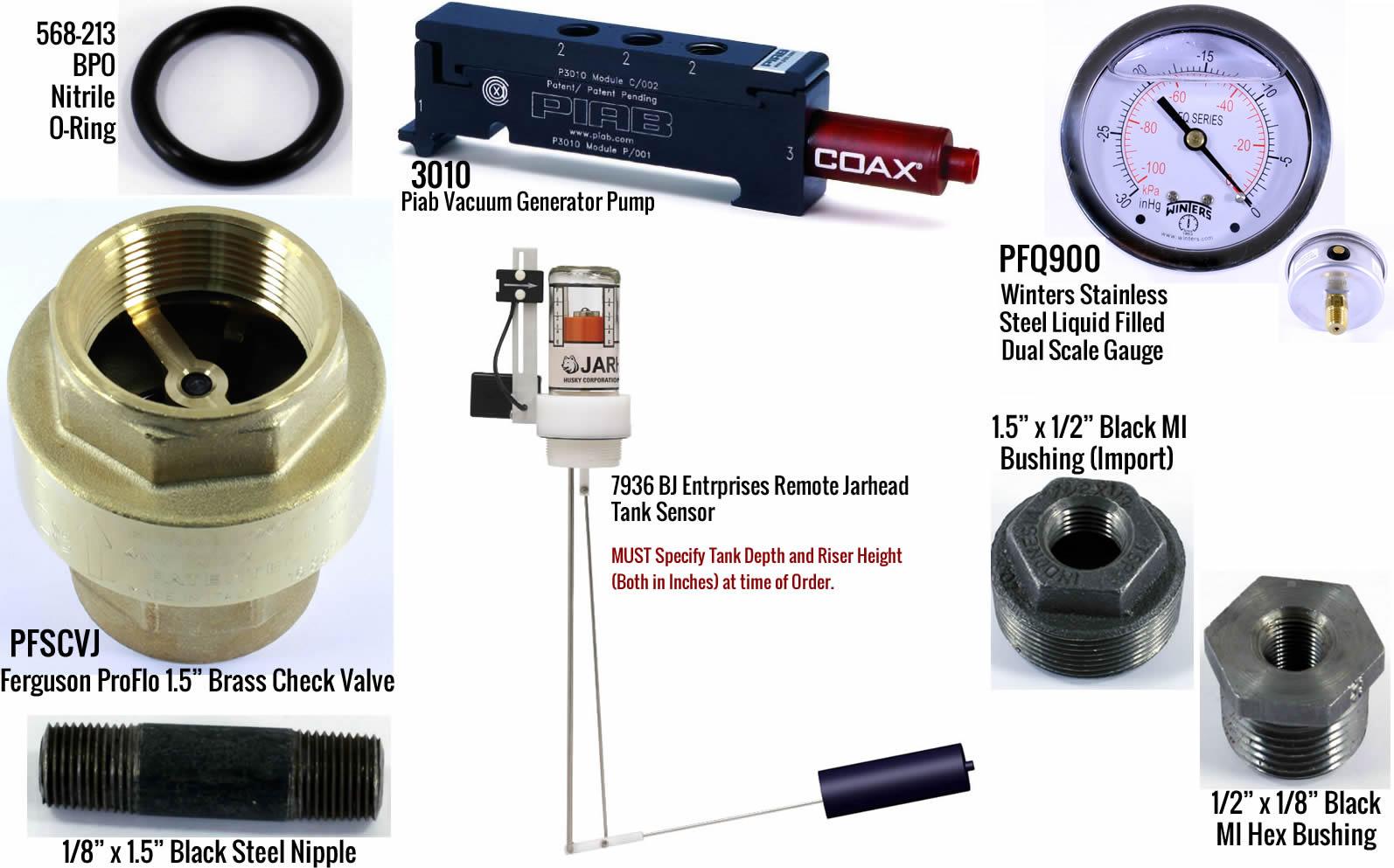 MYERSVT-KIT Myers Tank Vacuum Test Kit w/ - (1) P3010.01.AE.02.AA.00 Piab 3010 Series Vacuum Generator Pump - (1) PFSCVJ Ferguson ProFlo 1.5