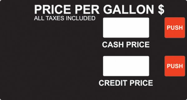 PI-201-439 R19432-G4 Performance Ink Gilbarco Advantage Dual Level Cash / Credit PPU Standard Overlay