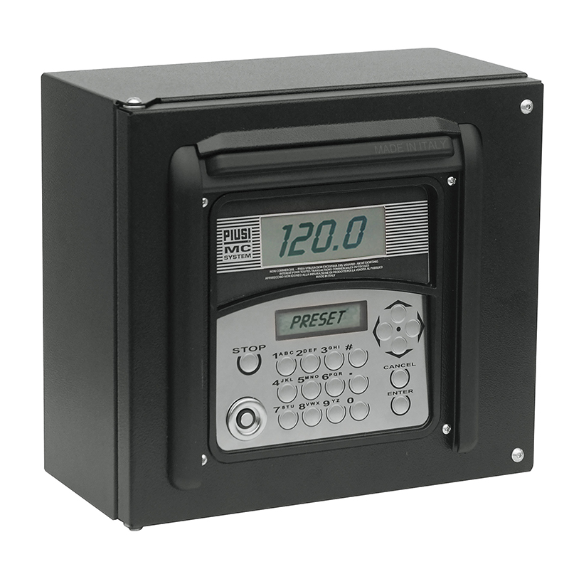 F00597050 Piusi MC Box 2.0 Fuel Management System w/ - Up to 1000 Users - LAN Or Wi-Fi Connection - User PIN Code or Key ID - Pump On/Off Switching - Receives:  - Flow Meter Pulses  - Enable Level Switch Signal  - Enable Nozzle Contact Signal - 120vAC / 60hz - Compatible Fluid Types:  - Diesel, Gasoline, Oil, Keronsene - RSC Converter and Remote Printer Sold Separately
