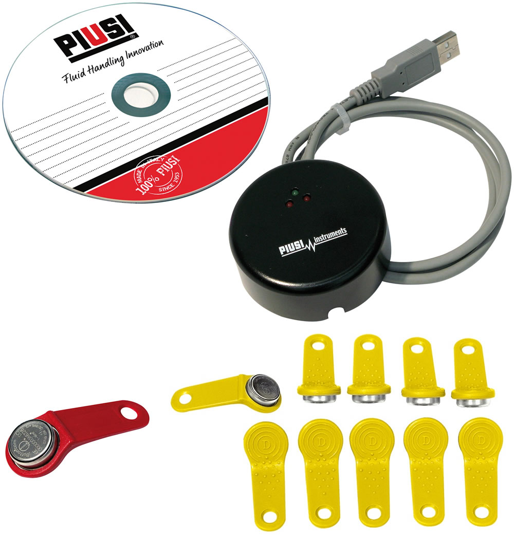 F14144040 Piusi FMS Key Kit w/ - USB Adapter - Red Manager Key - (10) Yellow User Keys - Software