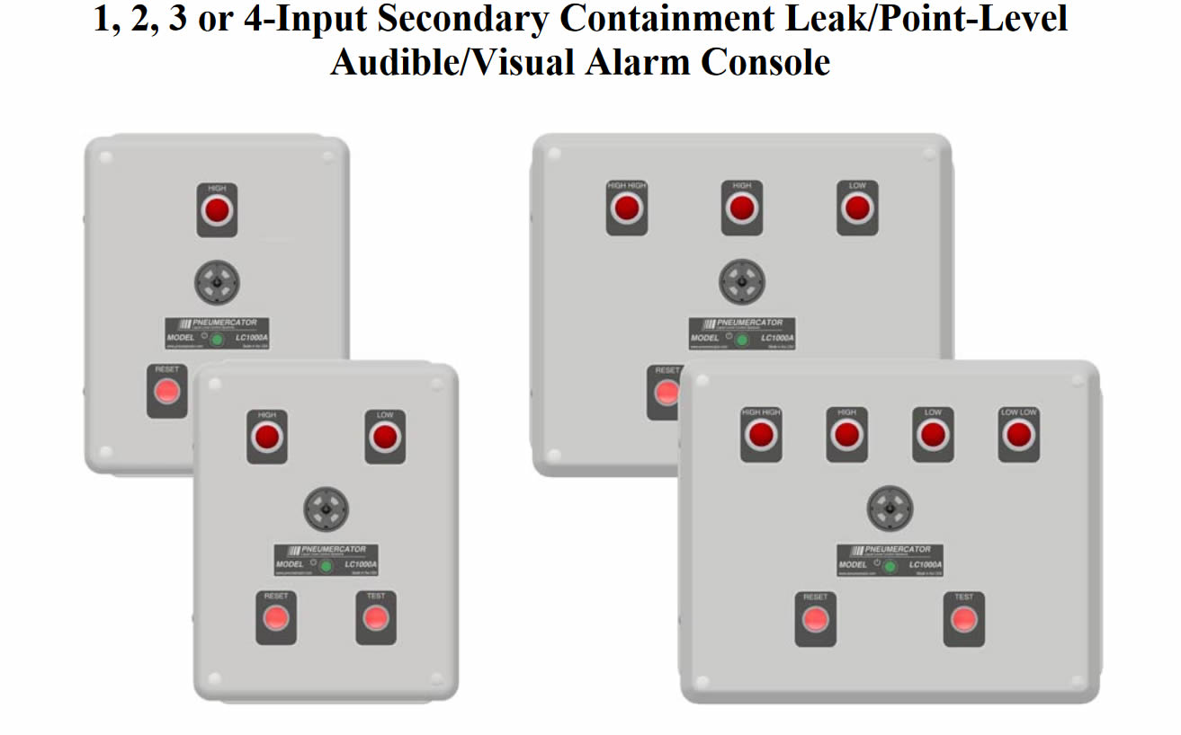 LC1000-A-03-10-0 Pneumercator LC1000-A Leak/Point-Level Alarm Console w/ - NEMA 4X Enclosure - 95-250 VAC Auto-Switching - Single Sensor Input - Single Relay Output - Auto Silence