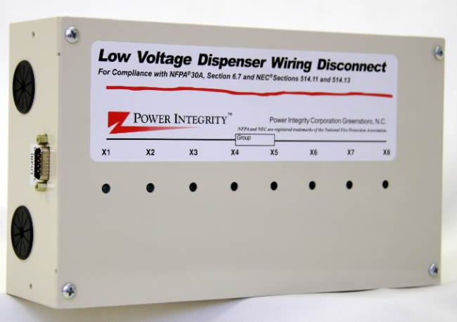 DDS-8DB4C Power Integrity 8-Dispenser Secondary Low Voltage Intercom and Media Circuits Disconnect w/ - (1) Call Button and (1) Speaker per Dispenser (4-Conductor w/ Shield) - (1) DB9 Control In - (1) DB9 Control Out - 6' and 25' DB-9 Interconnect Cables - Status Indicator Lights - UL1238 Listed - Compliant w/ NEC 514.11, NEC 514.13 and NFPA 30A Section 6.7 Requirements - For use w/ Dispenser Primary Low Voltage Disconnect