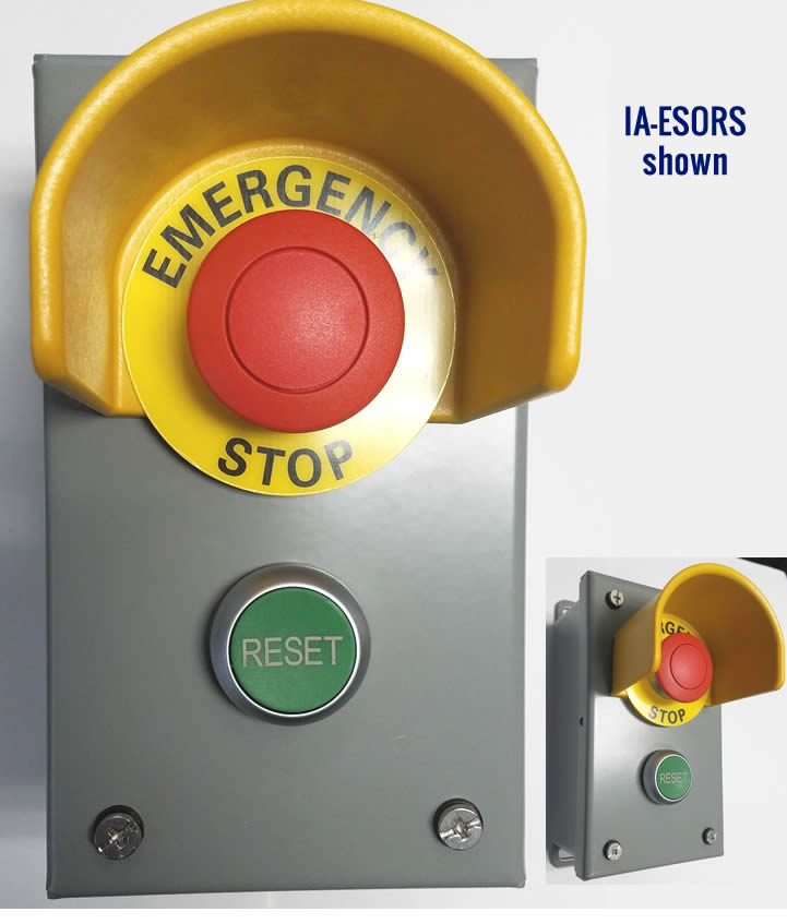 IA-ESORS Power Integrity Cashier Control Station w/ - Emergency Stop Button - Protective Shroud to Prevent Accidental Pressing - Reset Button