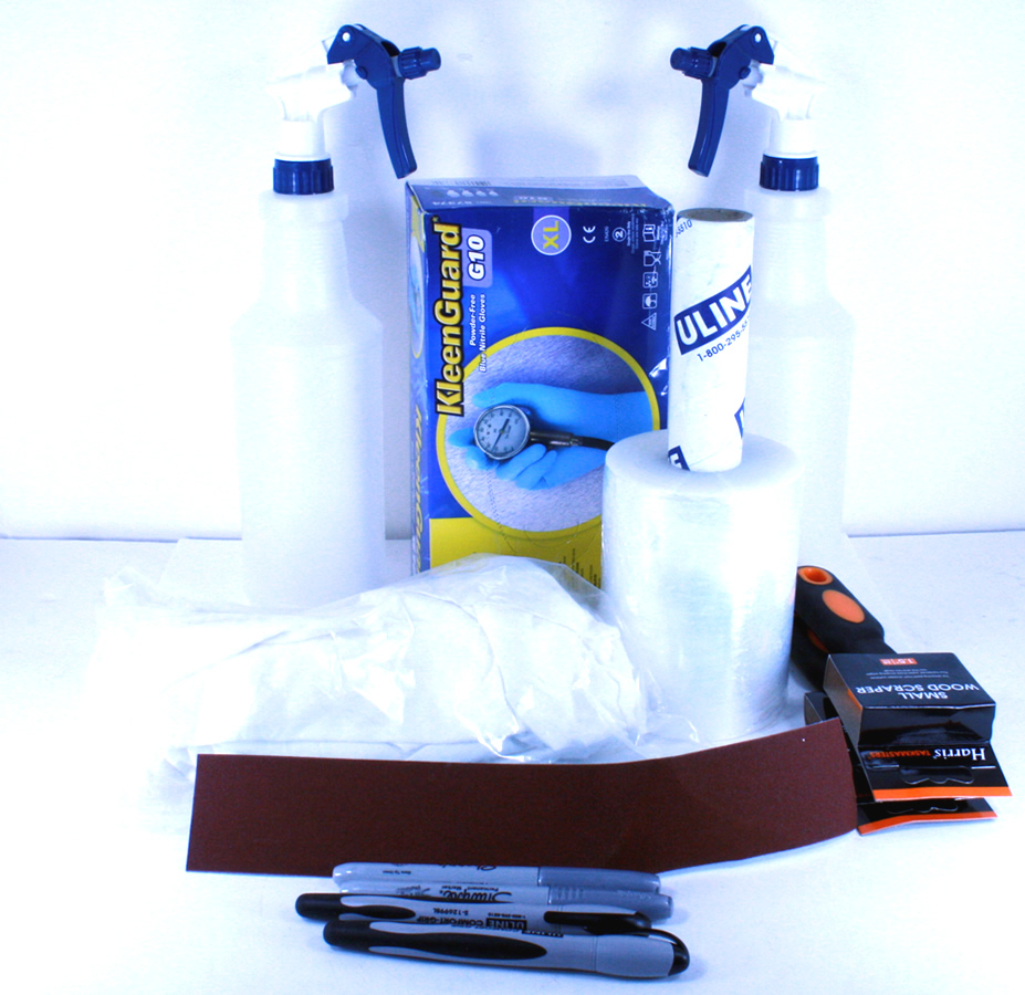 408005901 UPP Consumables Kit w/ - 1lb Lint Free Rags - (2) Magic Markers - 2-Quart Spray Bottle - (1) Box Nitrile Gloves - (2) Sharpie Silver Markers 1 - Sheet Emery Cloth 2 - Paint Scrapers - WITHOUT Acetone!!