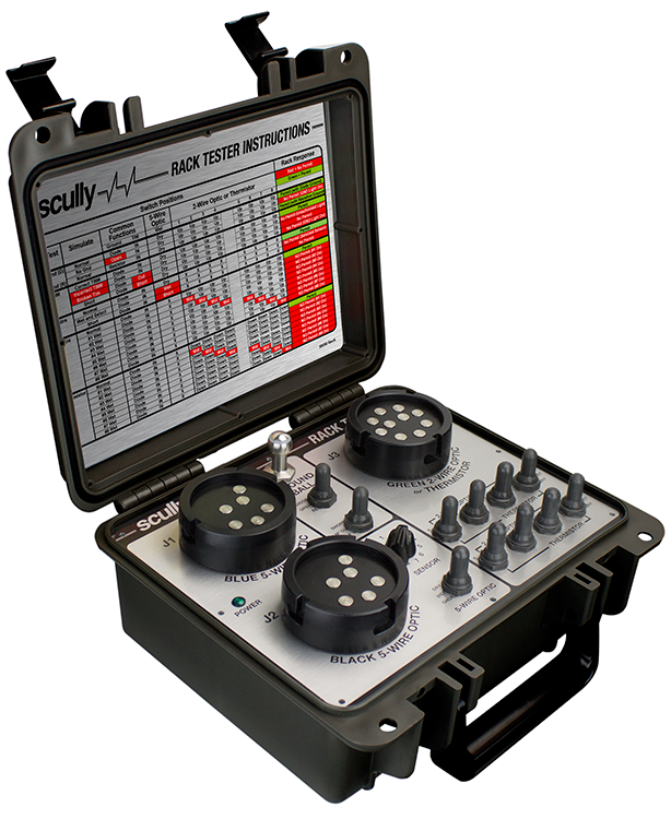 09832 Scully Manual Rack Tester. - Simulates Optic and Thermistor Overfill Sensors - Simulates Scully Ground Bolts and Ground Balls - Simulates Scully T.I.M. Truck Identification Modules