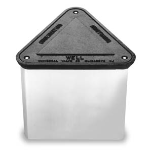65TE-12 Universal Triangular Monitoring Well Manhole w/ - Gasketed Cast Iron Cover - Flush Mount Stainless Steel Cover Bolts - Galvanized Steel Skirt - H20 Load Rating