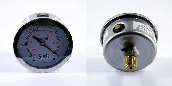 PFQ900 Winters Stainless Steel Liquid Filled Dual Scale Vacuum Gauge w/ - Brass Movement, Socket and Tube - 0-30